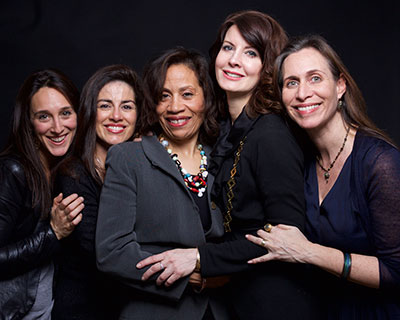 Founding members of World Without Exploitation:  Lauren Hersh, Sonia Ossorio, Taina Bien-Aime,  Anne K. Ream, and Rachel Foster  | photo: Lynn Savarese