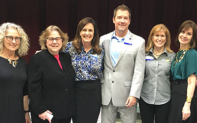 Members of Rotary International, Three Strands, and The Voices and Faces Project in Sacramento, CA. L to R: Katie Feifer, Deb Andrews, Ashlie Bryant, Brian Gladden, Desiree Wilson, and Anne K. Ream.